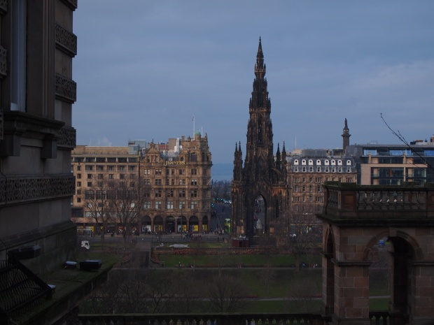 A view of Princes Street from the Royal Mile.