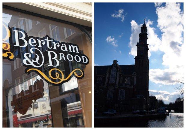 Right: best place for apple turnovers i've yet found; Left: the church next to the Anne Frank house.