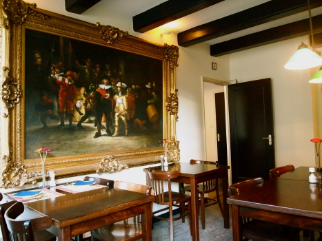 "A re-creation of Rembrant's ""Night Watch"" in the hotel's dining room!"