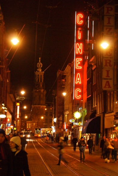 This is not the Red Light District, but it IS a picture of a red lit sign at night, so it metaphorically serves a purpose!
