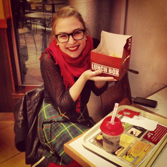 Thanks to Megan for taking this! (Gratuitous fast food eating commences)