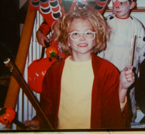 Lots of social skills as Harry Potter for Halloween, circa third grade.