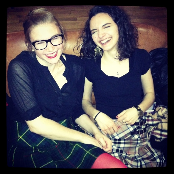 Laughing in our kilts over after-dancing drinks!