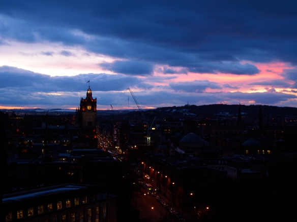 The view from Calton Hill at sunset.