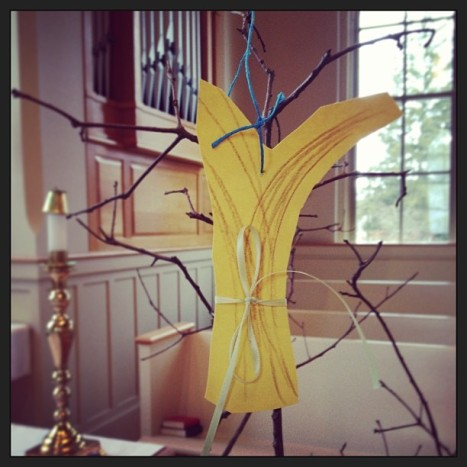 Day 8: Wisdom. This is  meant to be a sheaf of wheat, symbolizing Ruth & Naomi and their role in Jesus' lineage, put on a Jesse Tree by the children at church on Sunday.