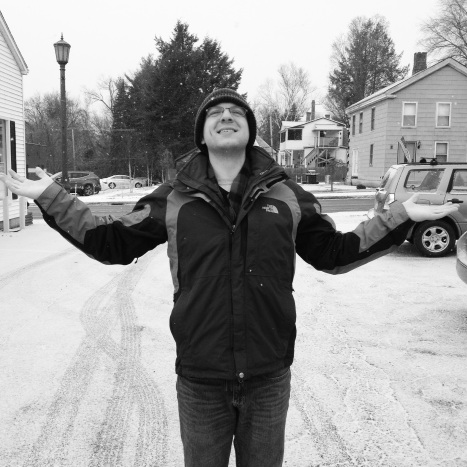 Day 14: Gather. Not sure if Jonathan is doing the Great Thanksgiving or basking in the falling snow.