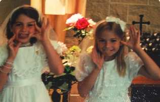 Me + Becca at our First Communion.